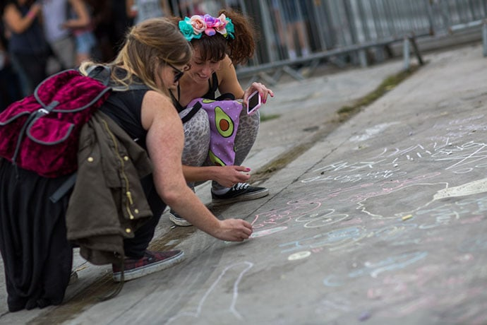 Chalk art at Garden Party at The Tetley, Leeds, 30th August 2015