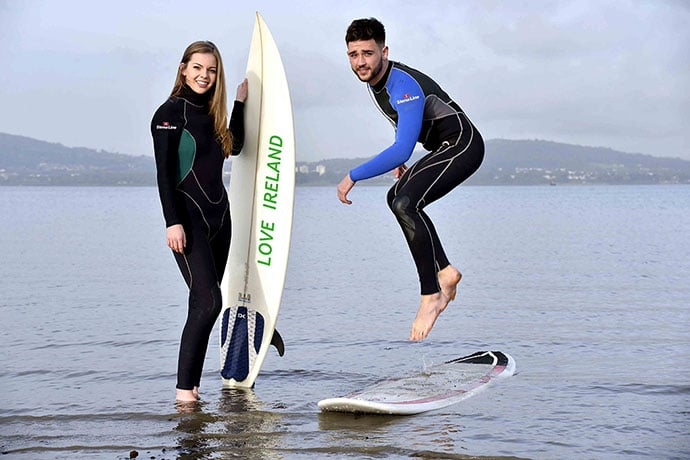 Stena Line surfers, Stephen and Hannah, take a short break in Ireland which in the autumn is a popular destination for surfers due to the world class surfing locations.  Getting from Ireland has never been easier or more affordable as Stena Line offers up to 40% off hotel breaks including 3, 4 and 5 star hotels, castles, island retreats, B&Bs and self-catering properties.  A two night hotel break to Ireland costs from only £75 per adult per night and you can travel anytime from now until March 2016.  To get the best deals you must book by November 30 and use the special offer code, IRELAND2015.  Book online at www.stenaline.co.uk/ireland or call 08445 768 889.