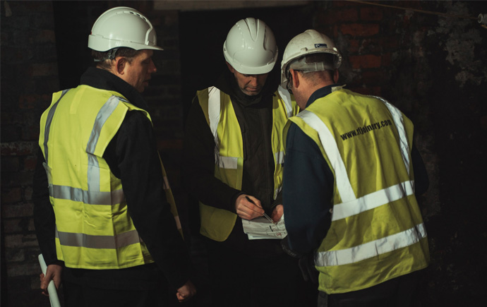 Construction workers inside Leah's Yard building in Sheffield