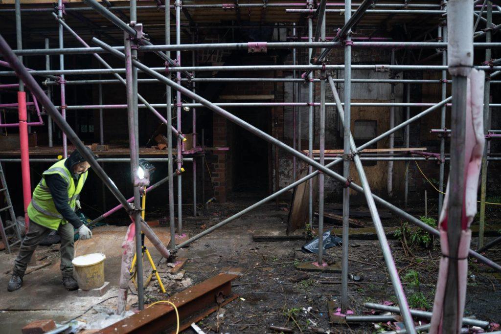 Construction work beginning at Leah's Yard