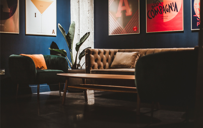 A brown leather couch insdie Aria bar Kommune's new bar Aria, part of Kommune food hall, which welcxomes Proove this month