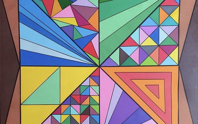"Piece of art from Open Up Sheffield artist Miranda Trojanowska entitled: ""Colour pattern of triangulation."""