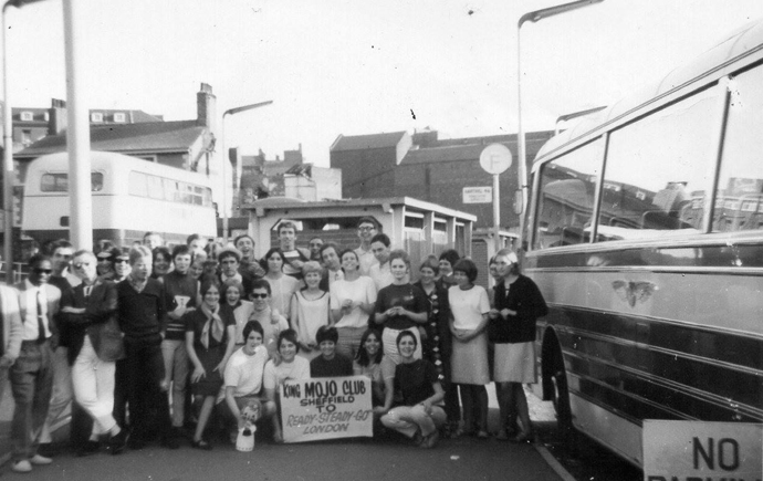 Sheffield superclubs: King Mojo dancers next to a bus set off to London to appear on iconic Ready, Steady, Go! TV show