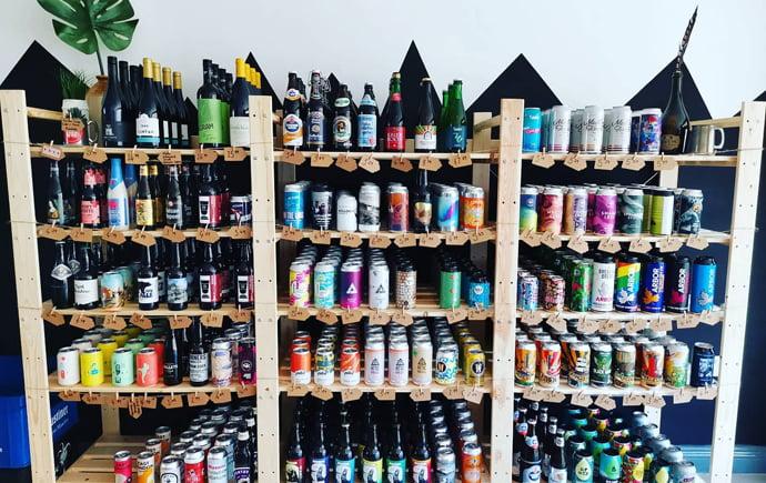 Shelves of beer at Pangolin