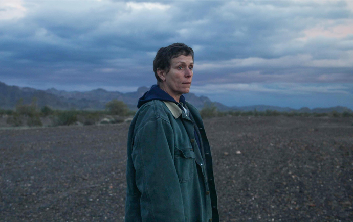 Actress Frances McDormand in a still taken from Nomadland