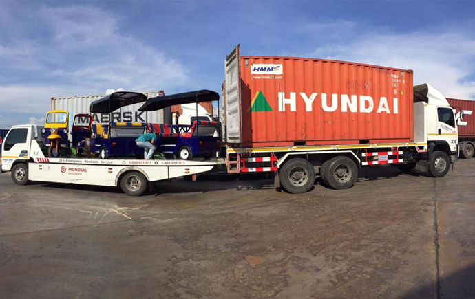 Tuk tuk's on a lorry in Thailand ready to be shipped to the Thai street food restaurant